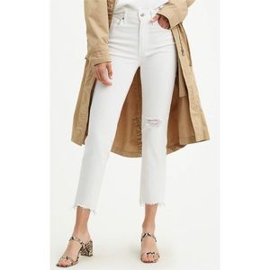 NEW Levi's 724 High Rise Straight Crop White Jeans